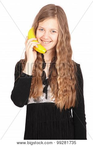 Girl Holding Fresh Banana