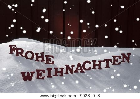 Frohe Weihnachten Means Merry Christmas Snowflakes