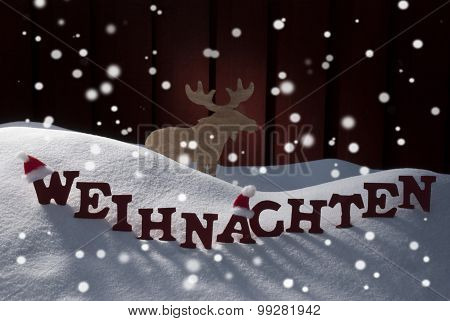 Weihnachten Means Christmas Snowflakes Mosse