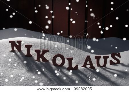 Nikolaus Means Santa Claus On Snow And Snowflakes