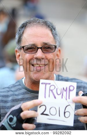 Trump supporter Joe Lapour with sign