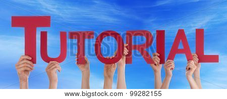 Many People Hands Holding Red Straight Word Tutorial Blue Sky