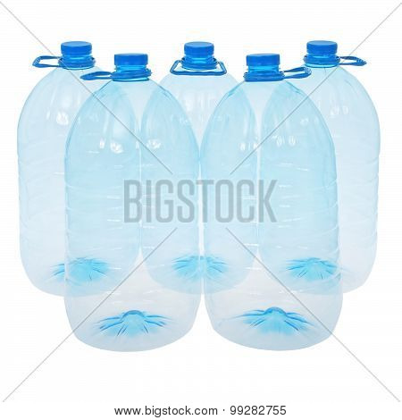 Five Big Bottles Of Water (clipping Path)