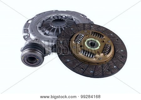 Automotive clutch on a white background.