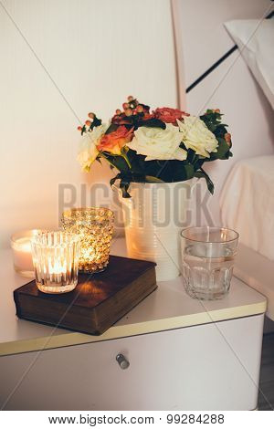 Bedside table decor with candles