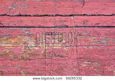 Ancient Wooden Door Red