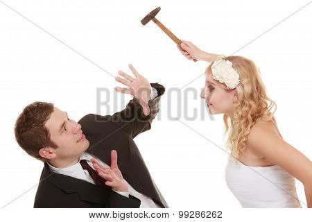 Wedding Couple Having Argument Conflict, Bad Relationships