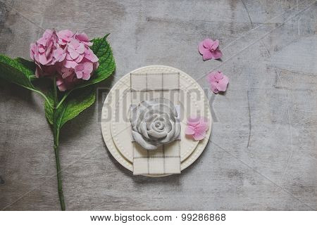 Decor Of The Table With A Plate And  Napkin