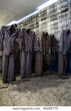 Exhibition With Prisoners' Clothes In Auschwitz