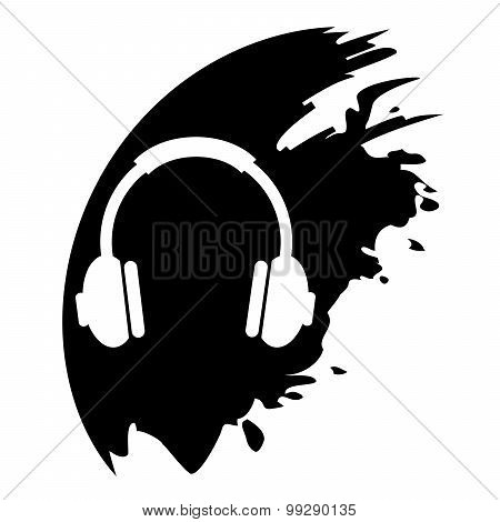 Vector Headphones On Black Blob