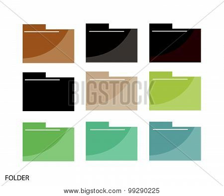 Set Of File Folder Icons On White Background