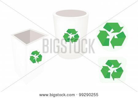 Two Recycle Garbage Can And Recycle Icons
