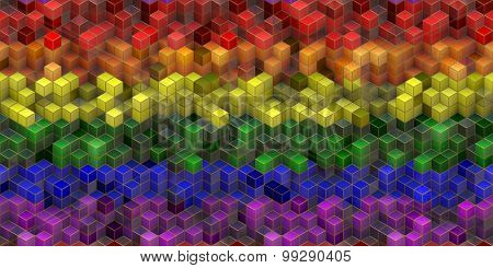 Lgbt Flag With Cubes Effect