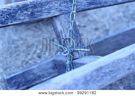 Chains Are Chained To An Old Wooden Chair Leg