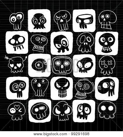 Hand Drawn Skulls Doodles Vector Set
