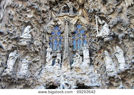 Nativity Facade Of Sagrada Familia Temple, Barcelona,catalonia, Spain