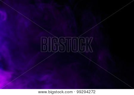 Abstract Purple Smoke Hookah On A Black Background.