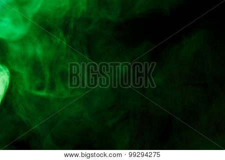 Abstract Green Smoke Hookah On A Black Background.