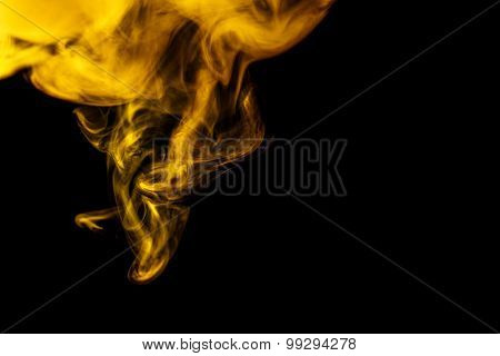 Abstract Yellow Smoke Hookah On A Black Background.