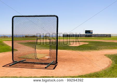 Baseball Field By The Pacific Ocean With A Practice Net