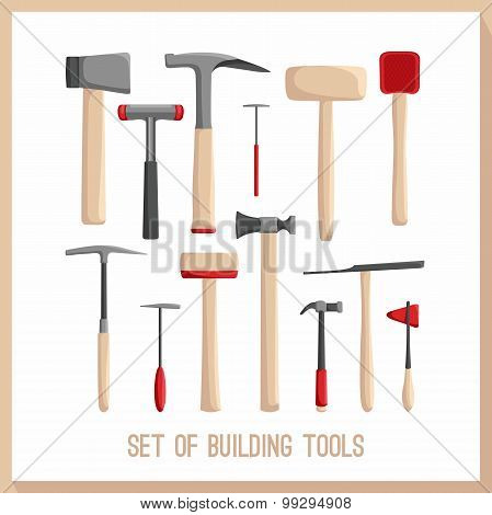 Set of building tools. Buildings tools icons set. Flat design symbols. Construction tools.