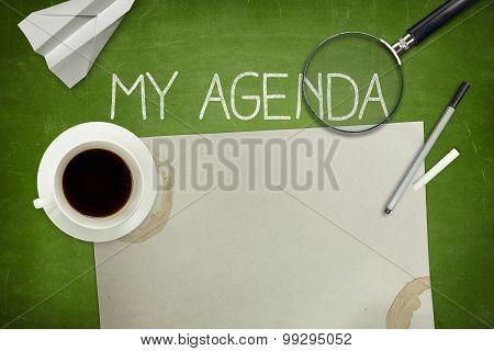 My agenda concept on green blackboard
