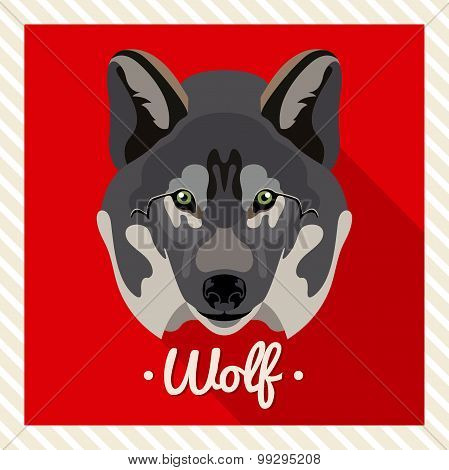 Vector portrait of a wolf. Symmetrical portraits of animals. Vector Illustration, greeting card.