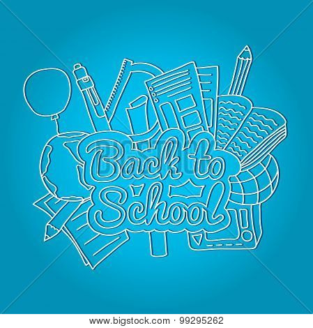 Back to school. Large bright illustration with inscription and school supplies on a blue background.