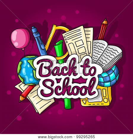 Back to school. Large color illustration with inscription and school supplies on a bright background