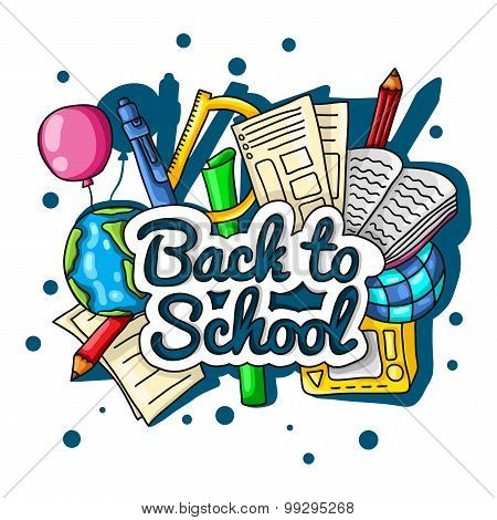 Back to school. Large color illustration with inscription and school supplies on a white background.