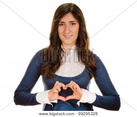 girl showing heart symbol