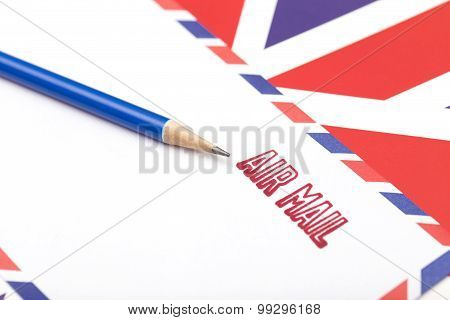 Air Mail Stamped On The Envelope
