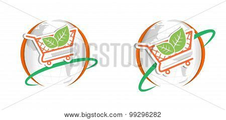 shopping cart logo leaf
