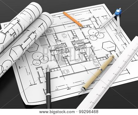 Architect Blueprint And Stationary Tool Background With Clipping Path