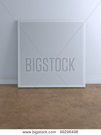Blank Frame Canvas In Loft Room With Clipping Path