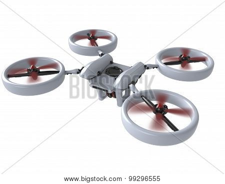 Flying Drone   Isolated On White Background With Clipping Path