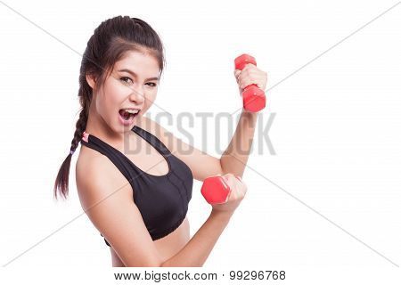 Sport woman doing exercise with lifting weights  Save Download Preview Sport woman doing exercise w