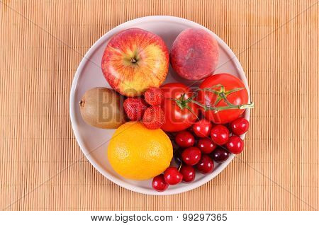 Fresh Fruits And Vegetables On Plate, Healthy Nutrition