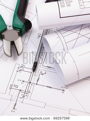 Work Tools And Rolls Of Diagrams On Construction Drawing Of House