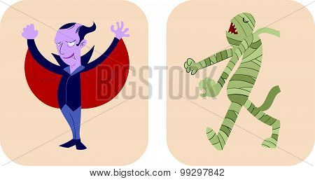 Hand Drawn Style Cartoon Of Dracula And Mummy