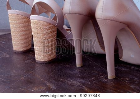 High-heeled woman shoes