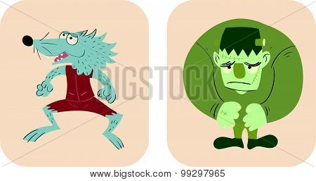 Hand Drawn Style Cartoon Of Werewolf And Frankenstein