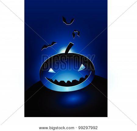 Blue Evil Pumpkin Head  In The Moonlight Vector Illustration