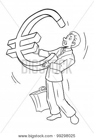 Businessman Holding Euro Symbol