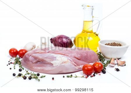 Uncooked Raw Turkey Fillet With Serving Spices
