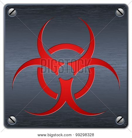 Vector Biohazard Sign On Dark Metal Plate V2