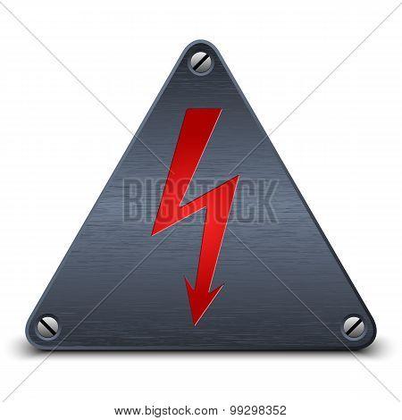 Vector High Voltage Sign On Dark Metal Plate