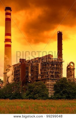 Petrochemical industrial plant, Czech Republic in the sunset