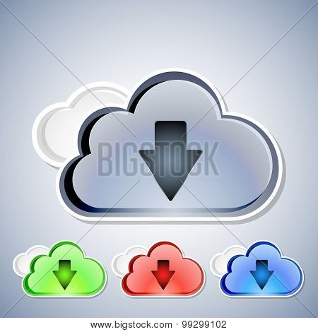 Cloud Computing Download Icons Set, Vector Illustration
