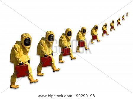 Men with briefcase in protective hazmat suit, isolated on white
